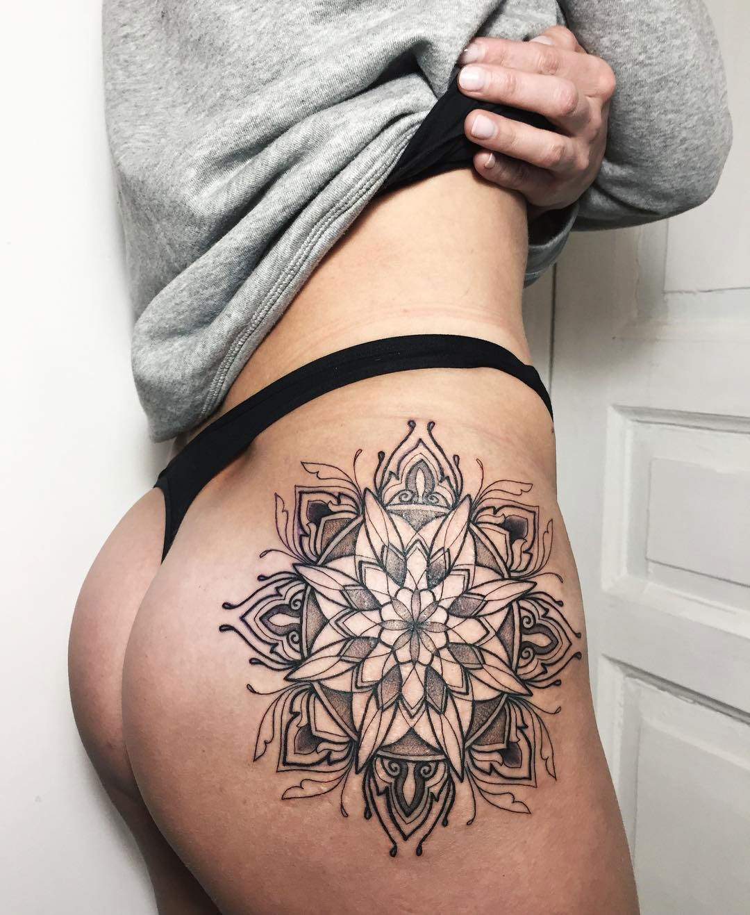 Hip Mandala, black ink tattoo