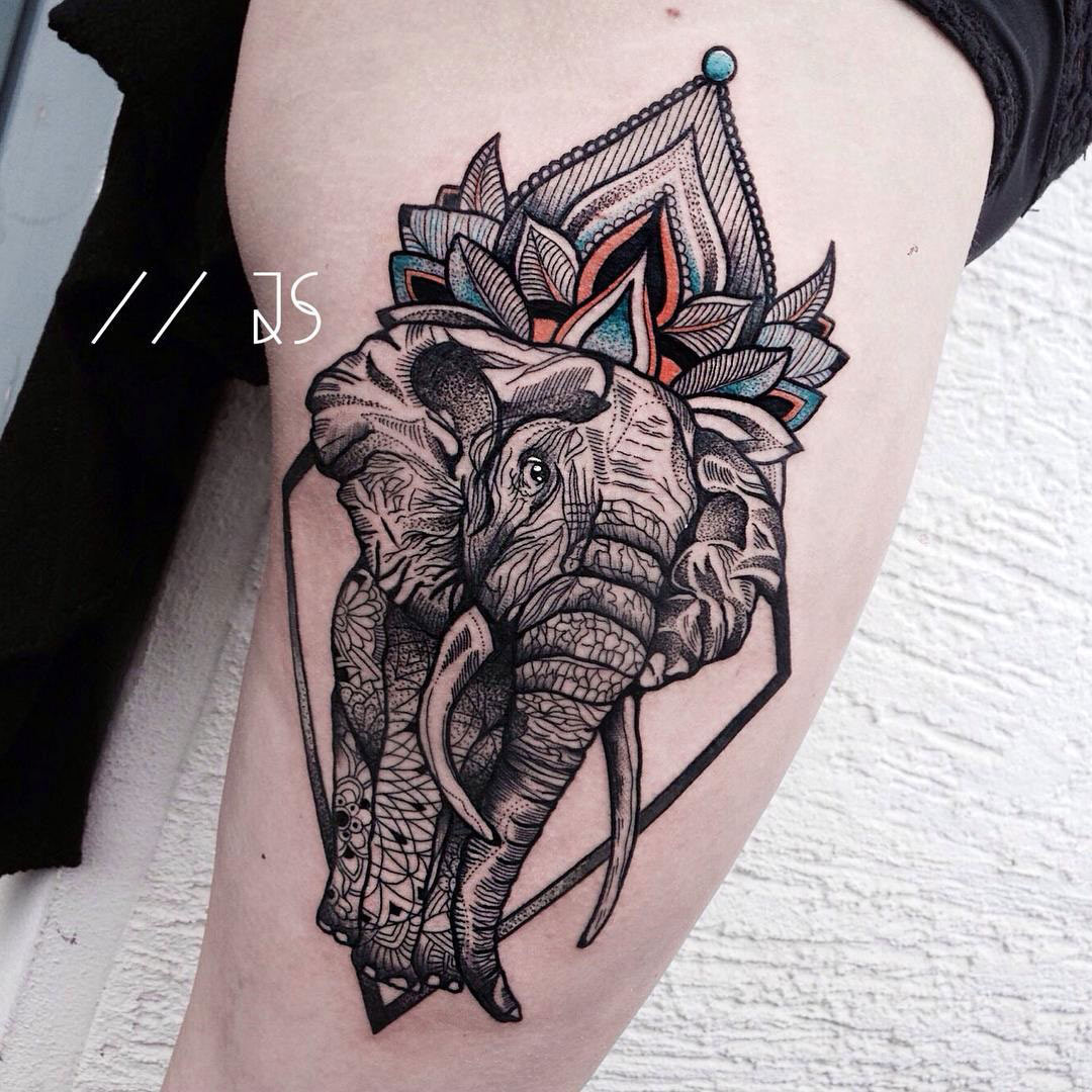 ornamental elephant thigh side piece best tattoo design ideas. Black Bedroom Furniture Sets. Home Design Ideas