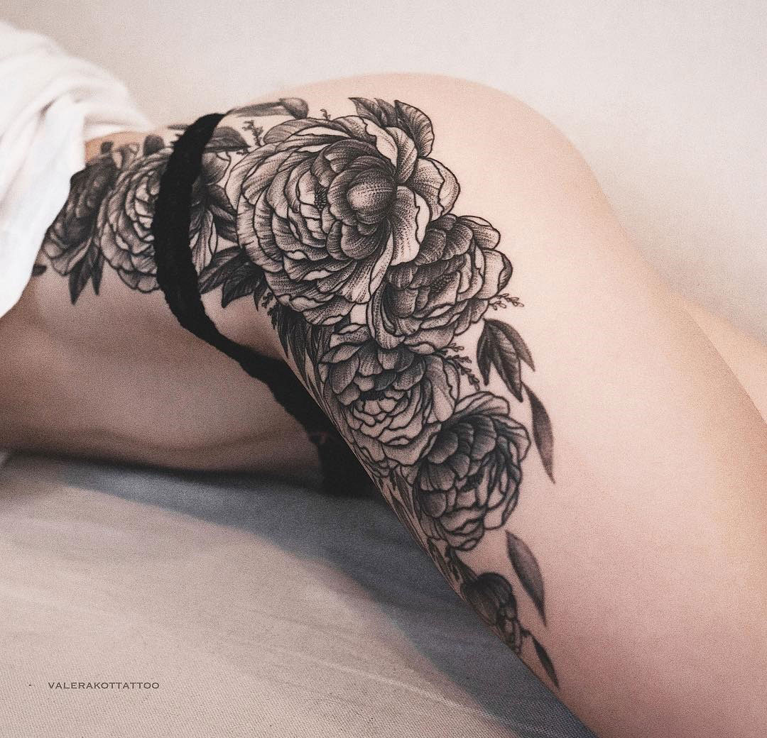 Peonies side tattoo