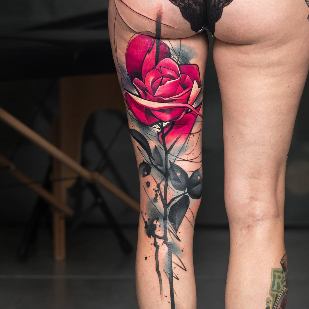 Pink Rose Back Of Leg Watercolor Piece Best Tattoo Design Ideas