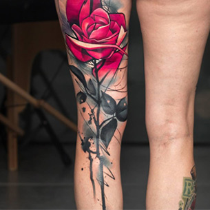 Pink Rose Back of Leg