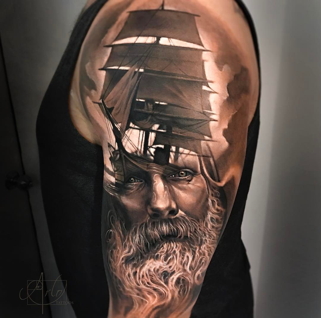 Sailing ship bearded sailor best tattoo design ideas for Best realism tattoo artist