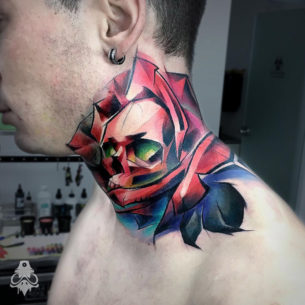Skull Rose Neck Tattoo