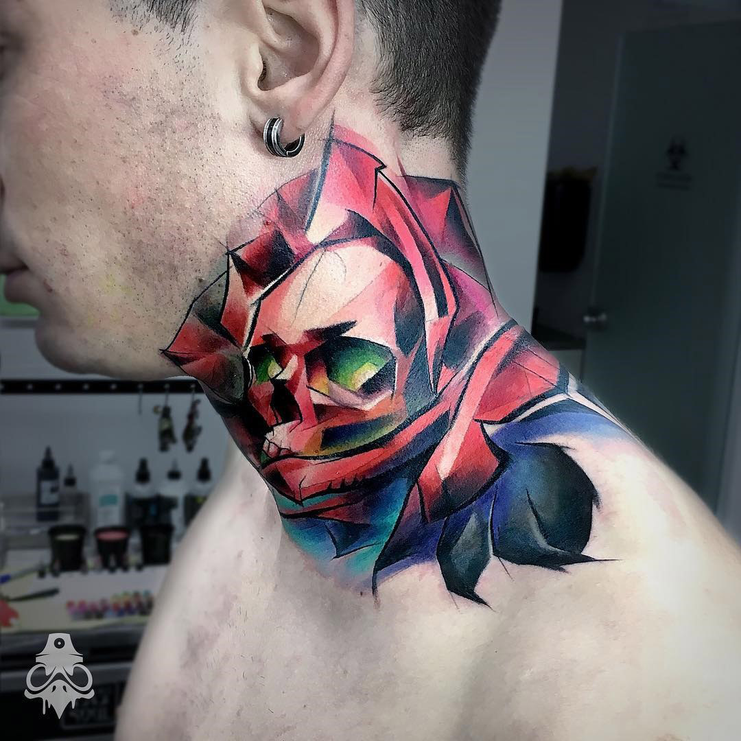 Skull rose merged men 39 s neck tattoo best tattoo for Skull neck tattoos