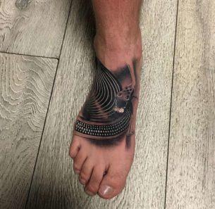 Turntable Foot Tattoo