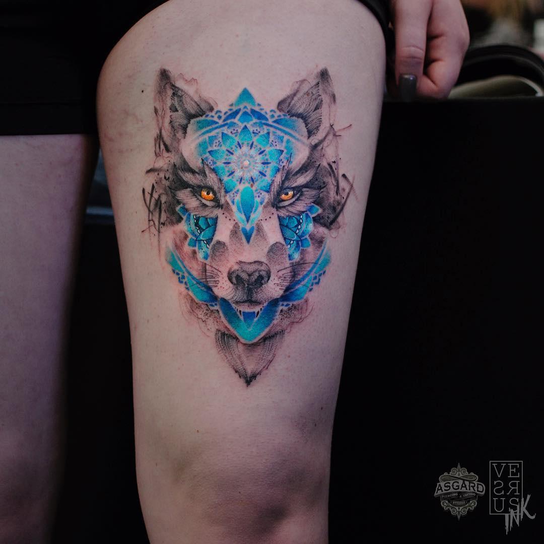 Wolf mandala thigh tattoo