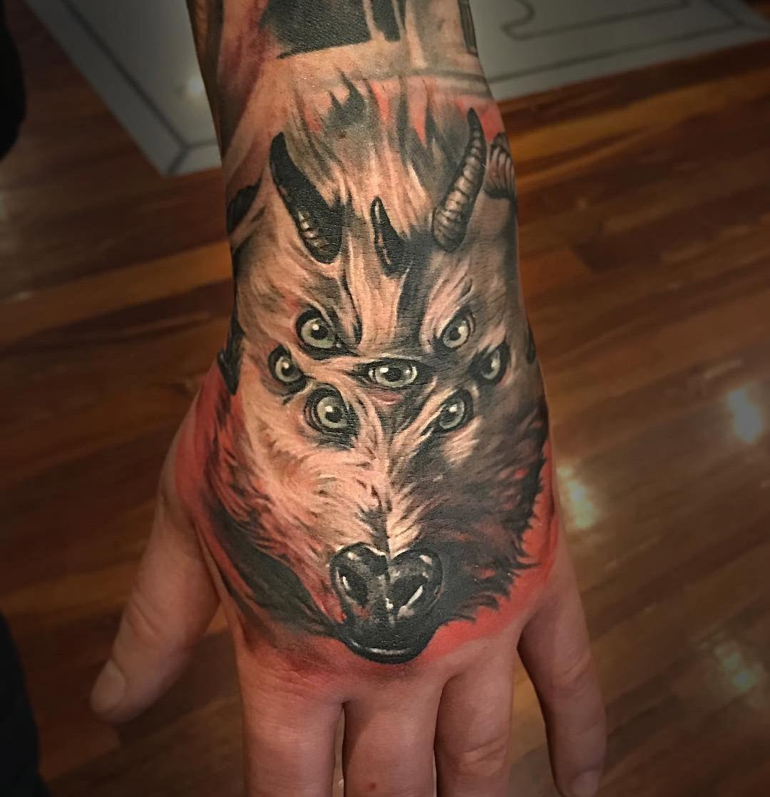 7 eyed goat hand banger best tattoo design ideas for Animal hand tattoos