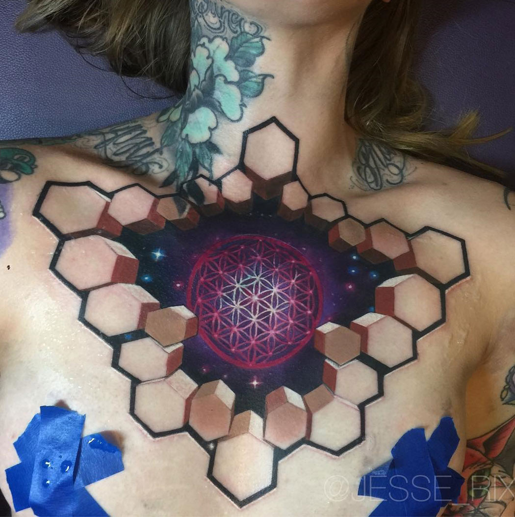 Flower of Life & Space, 3D Girl's Chest Tattoo