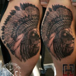 Lion & Headdress Hip & Thigh Tattoo