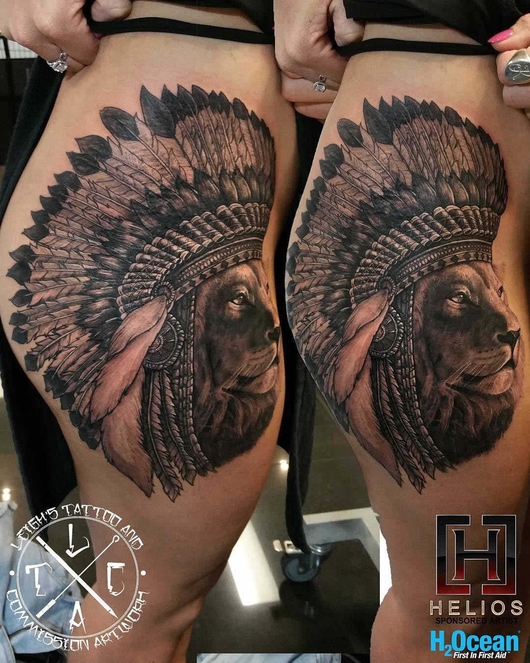Lion Wearing A Headdress On Girl S Hip Thigh Best Tattoo Design