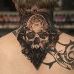 Space Skull Neck Tattoo