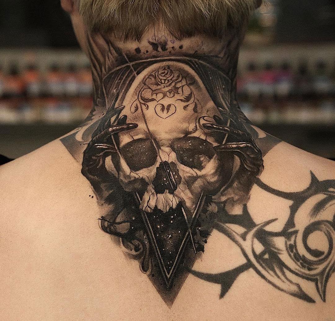 Space skull mens neck piece best tattoo design ideas for Skull neck tattoos