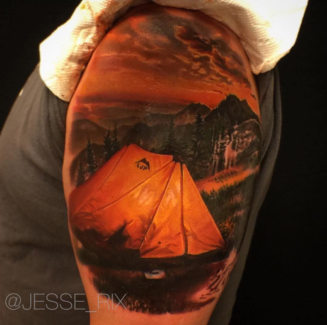 27 Awesome Picturesque Landscape Tattoo Designs: Camping Tattoo