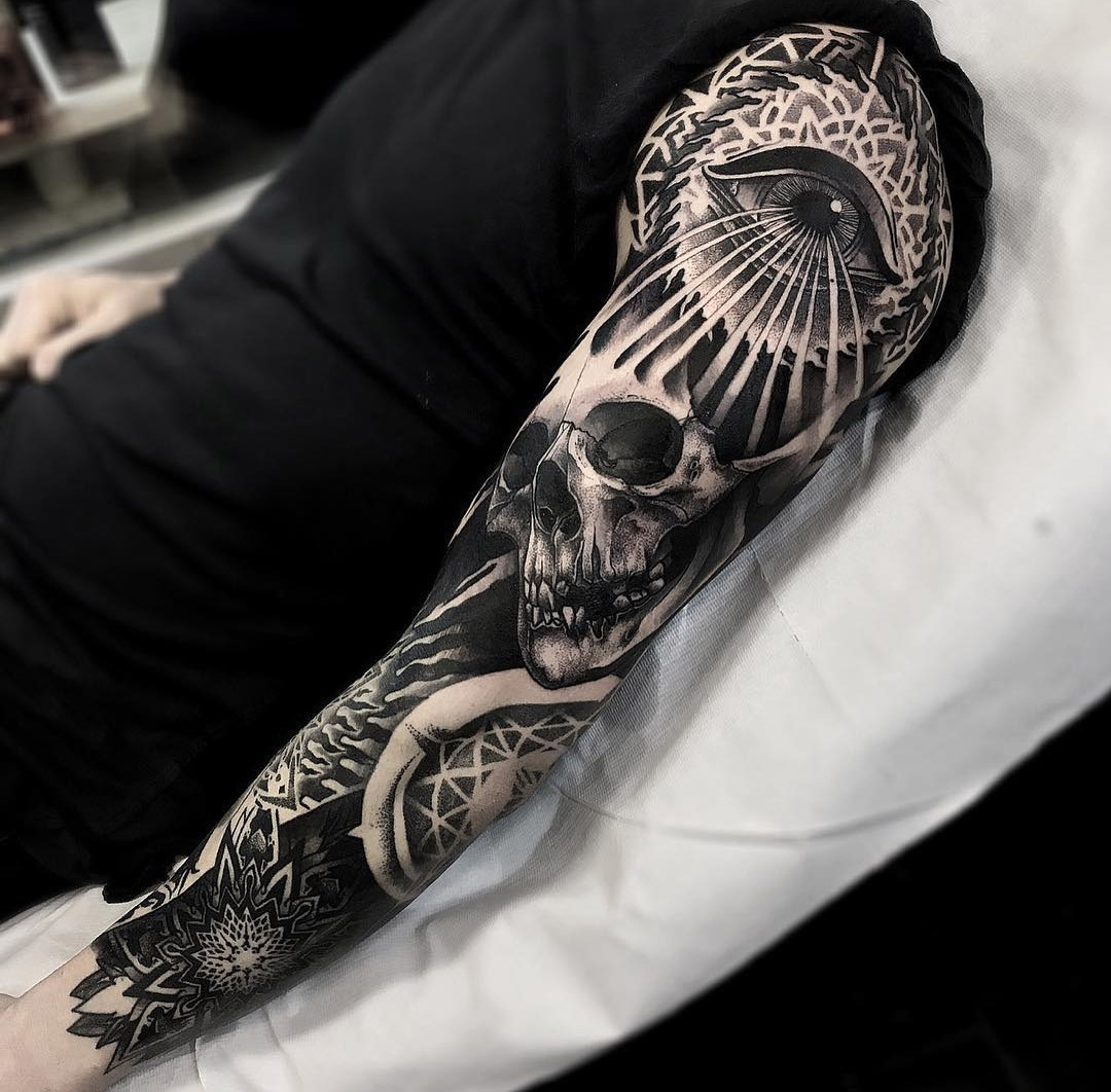 Mens Sleeve With Mandala Skull Eye Best Tattoo Design Ideas