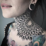 Girl's mandala ornamental neck tattoo
