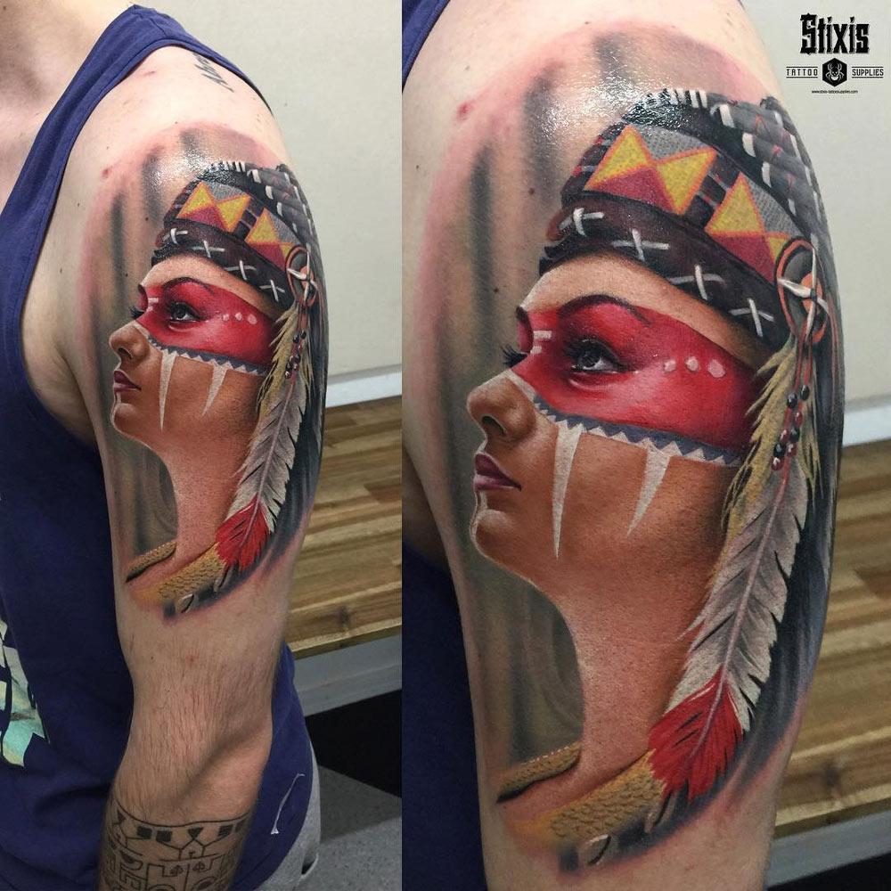 391319a1bf17f Native American Girl Portrait | Best tattoo design ideas