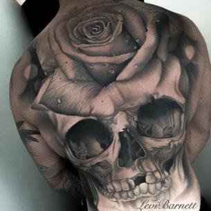 Skull & Rose Back Tattoo
