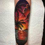 Beach Scene Sunset Forearm Tattoo