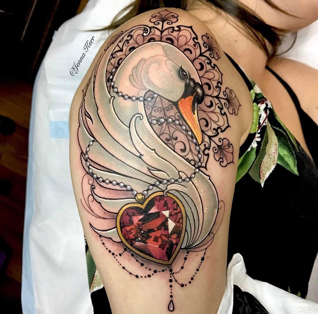 swan ruby necklace ornamental piece best tattoo design ideas. Black Bedroom Furniture Sets. Home Design Ideas