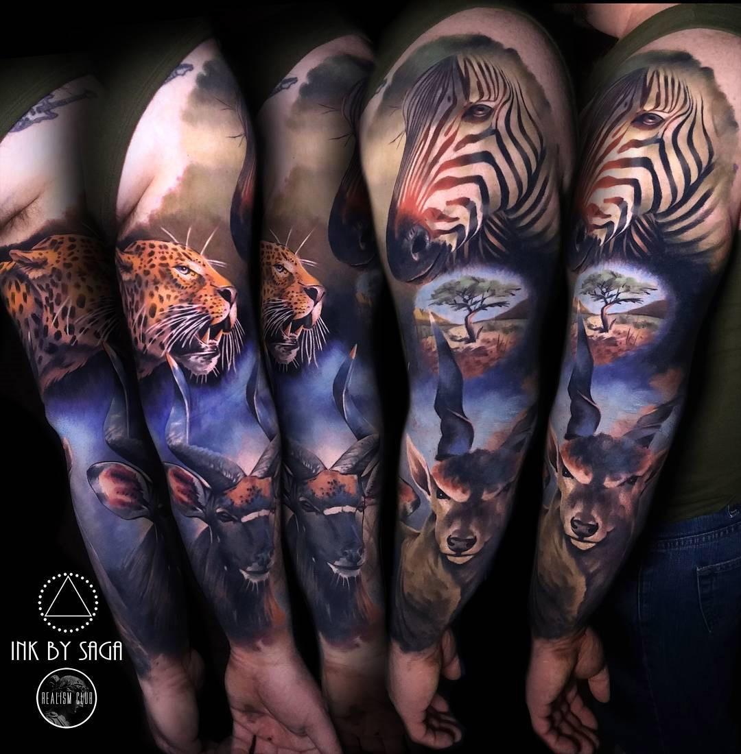 africa sleeve with zebra leopard antelope best tattoo design ideas. Black Bedroom Furniture Sets. Home Design Ideas