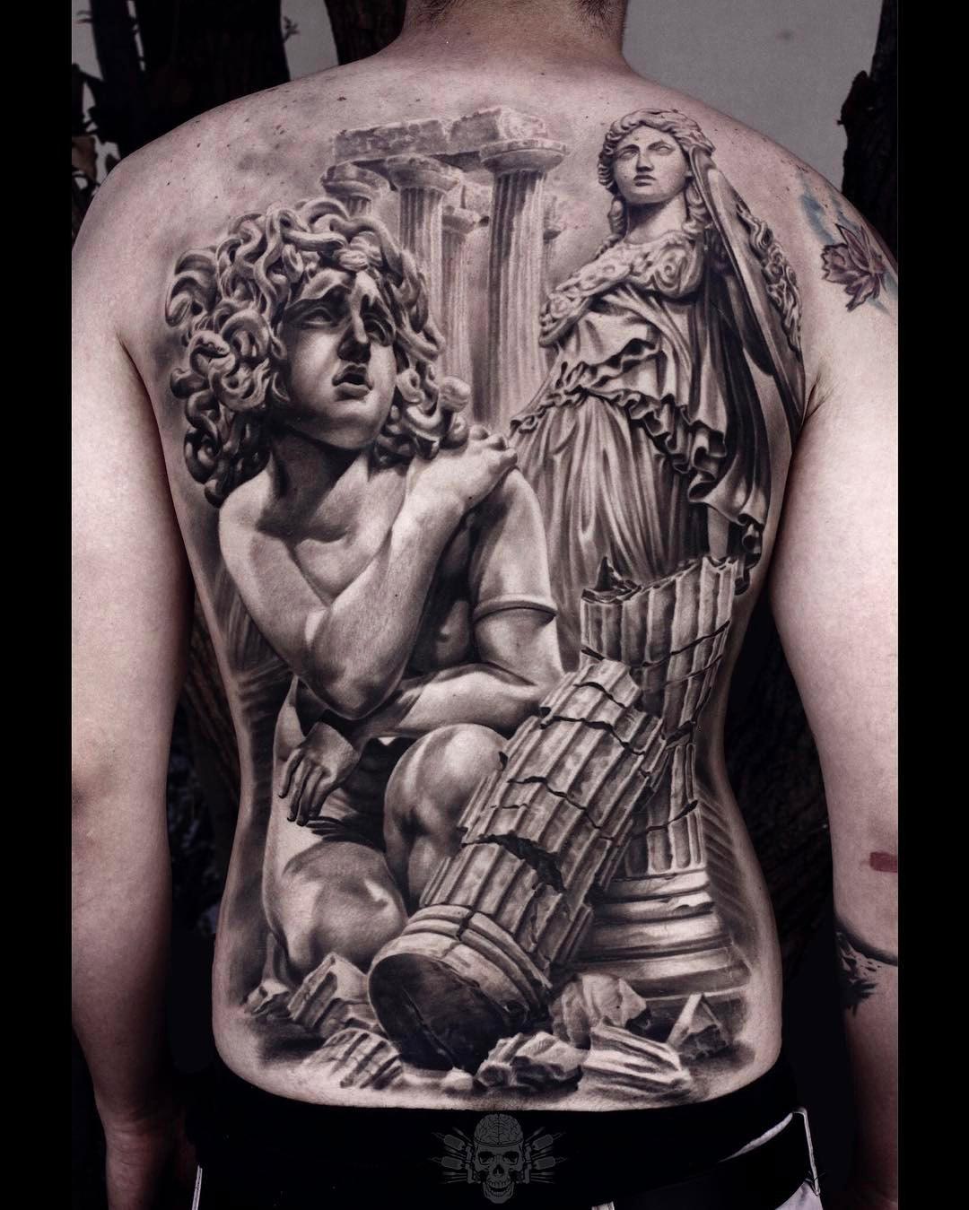 Athena & Medusa Back Tattoo
