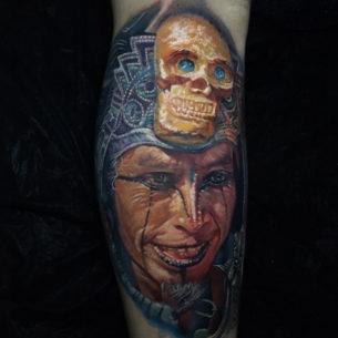 Aztec Warrior With Golden Skull Headpiece