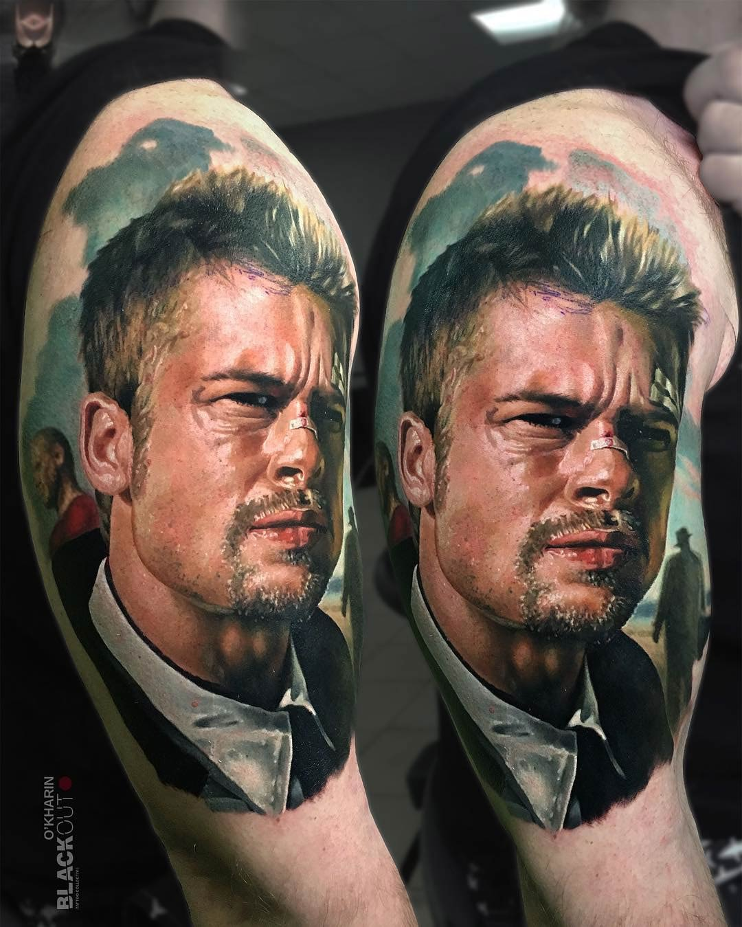 Brad Pitt Se7ven Tattoo