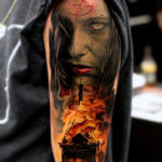 Satanic Tattoo with a Burning Church