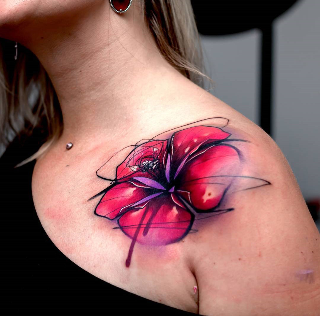 Lily Tattoo Abstract Piece On Girls Shoulder Best Tattoo Design
