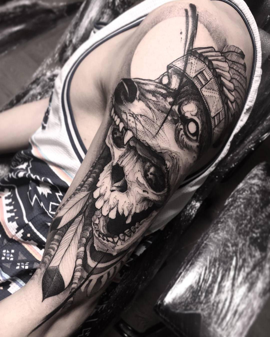 Wolf Headdress Skull Best Tattoo Design Ideas