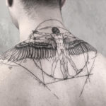 Vitruvian Man neck tattoo