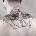 Vitruvian Man neck tattoo