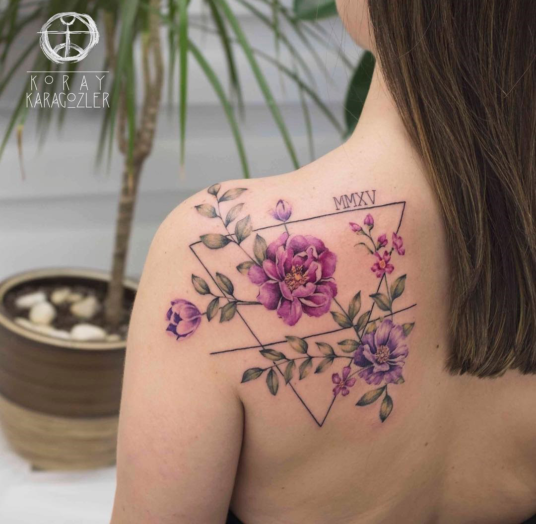 Pretty flowers back tattoo, child's birthday