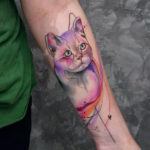Watercolor Cat Arm Tattoo