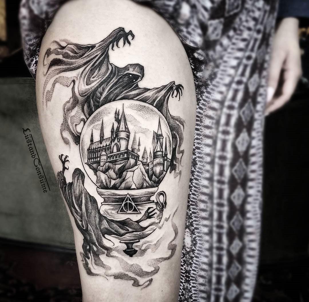 Harry Potter Thigh Tattoo With Dementors & Hogwarts | Tattoo Ideas
