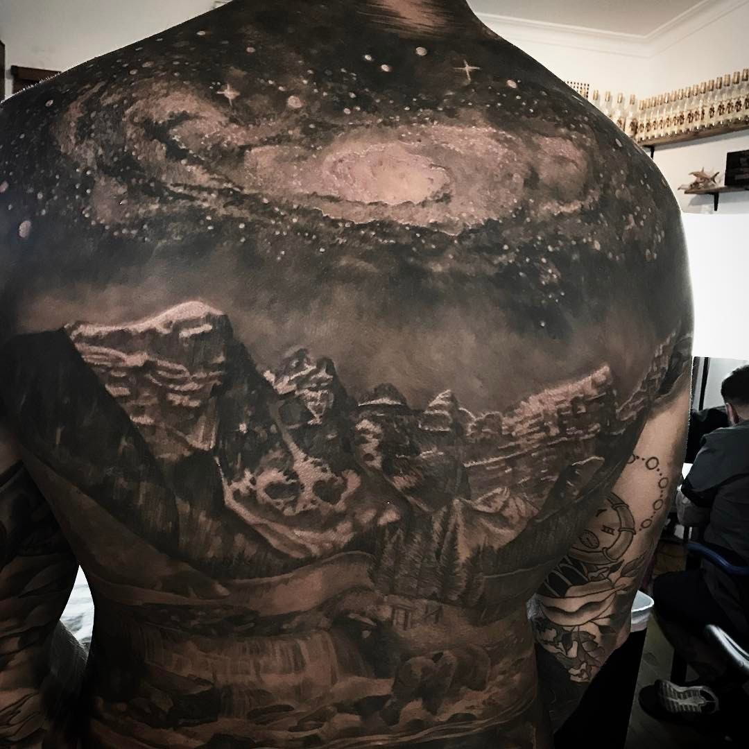 Space Galaxy & Mountains Tattoo