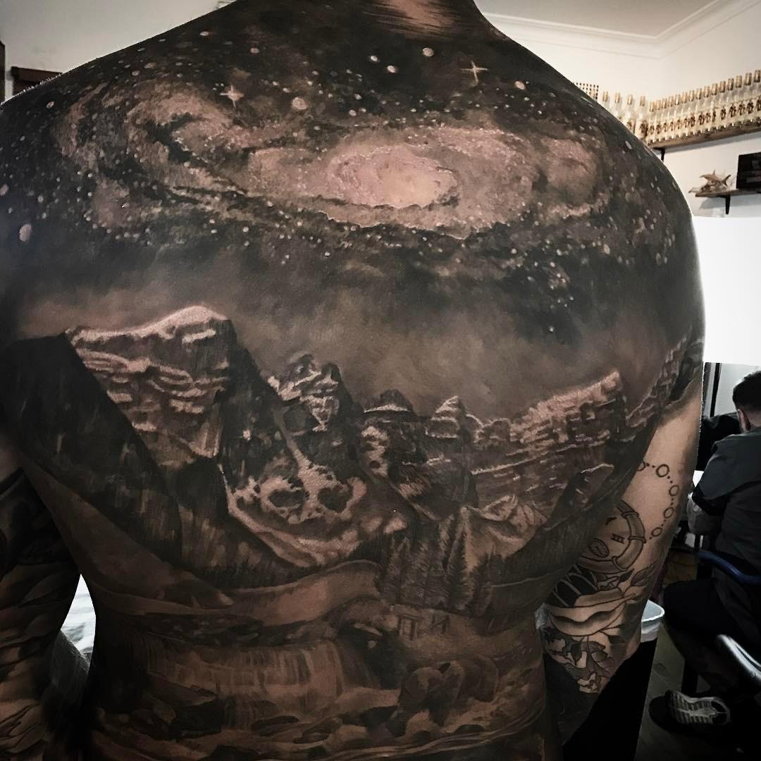 galaxy mountains back tattoo best tattoo design ideas. Black Bedroom Furniture Sets. Home Design Ideas