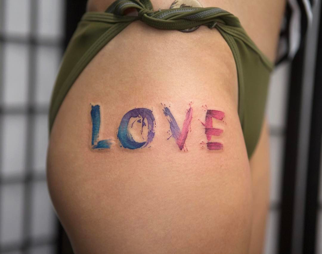 Love watercolor hip tattoo best tattoo design ideas for Best tattoo artists in nyc 2017
