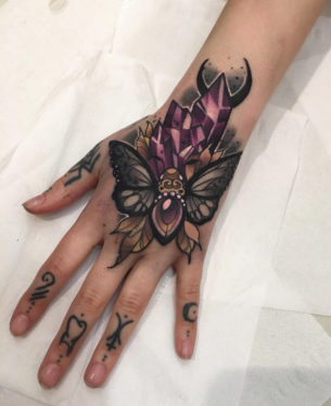 Moth & Crystals Hand Tattoo