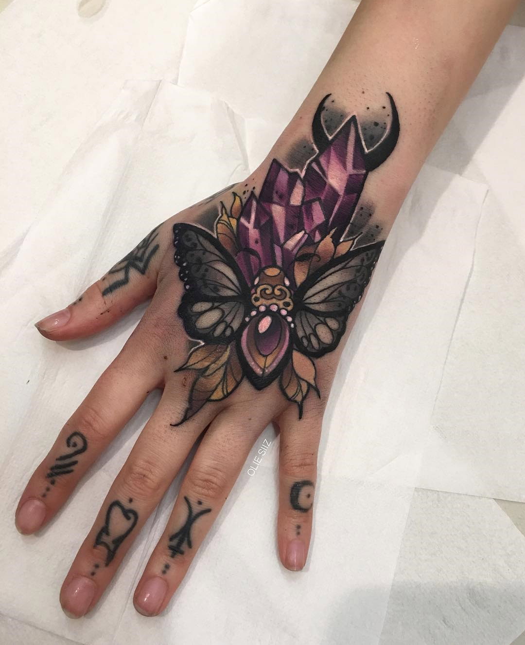 Moth & Crystals Hand Tattoo