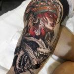 Native American portrait & wolf on girls leg