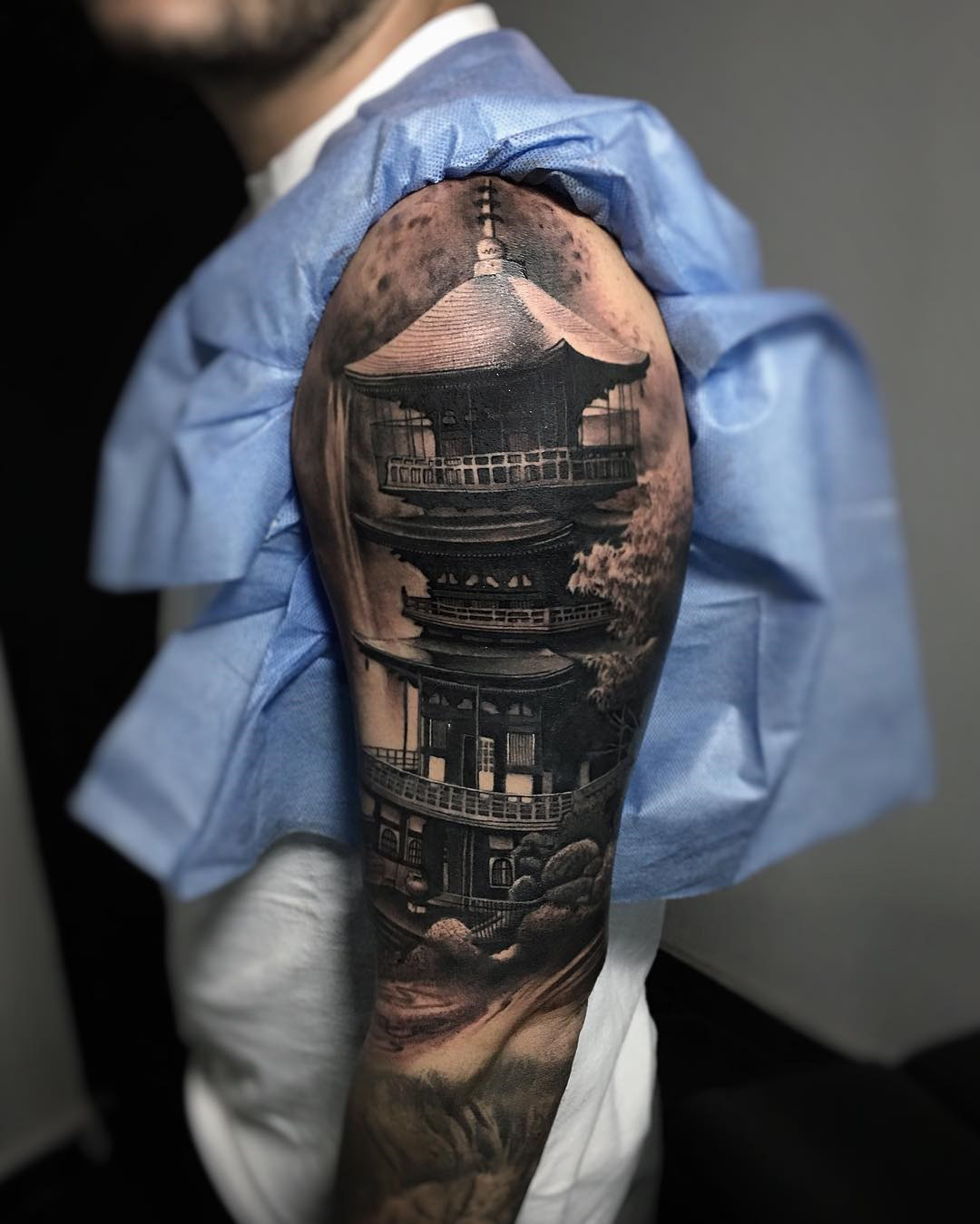 Tattoo ideas 2016 get new tattoos for 2016 2017 designs and ideas - Realism Pagoda Mens Asian Sleeve Best Tattoo Design Ideas