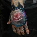 White & Pink Rose Hand Tattoo