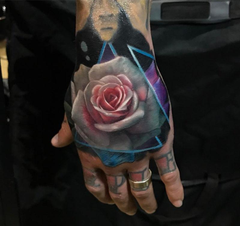 White & Rosa Rose Hand Tattoo
