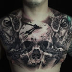Skull, Clock & Owls, Mens Chest Tattoo