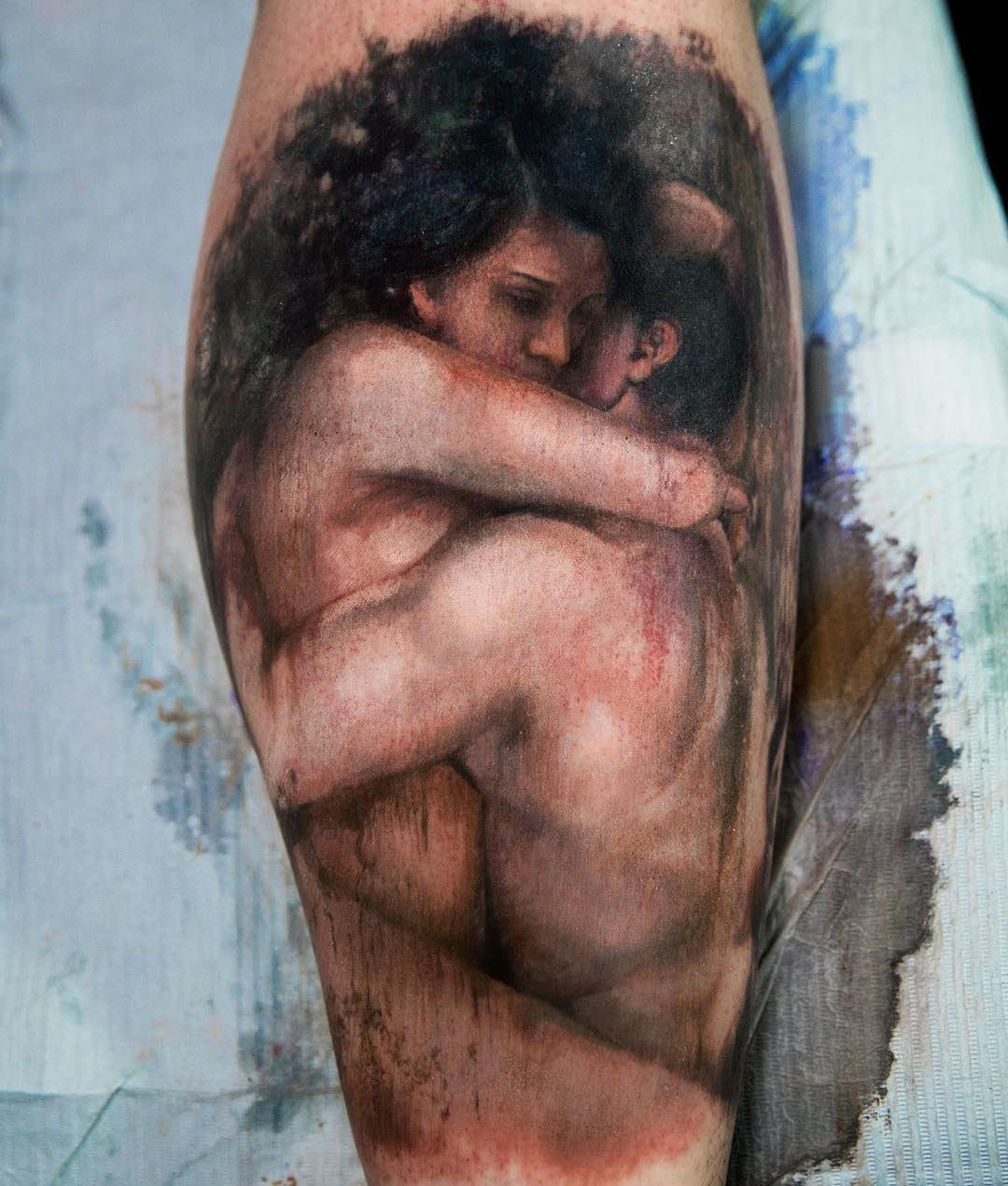 Couple Embracing, Love Tattoo