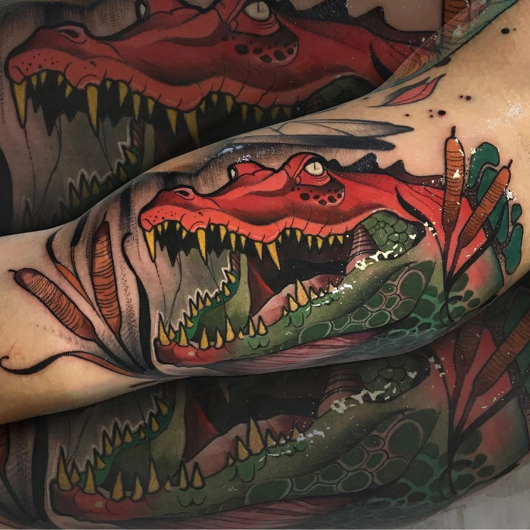 crocodile arm tattoo neotraditional style best tattoo