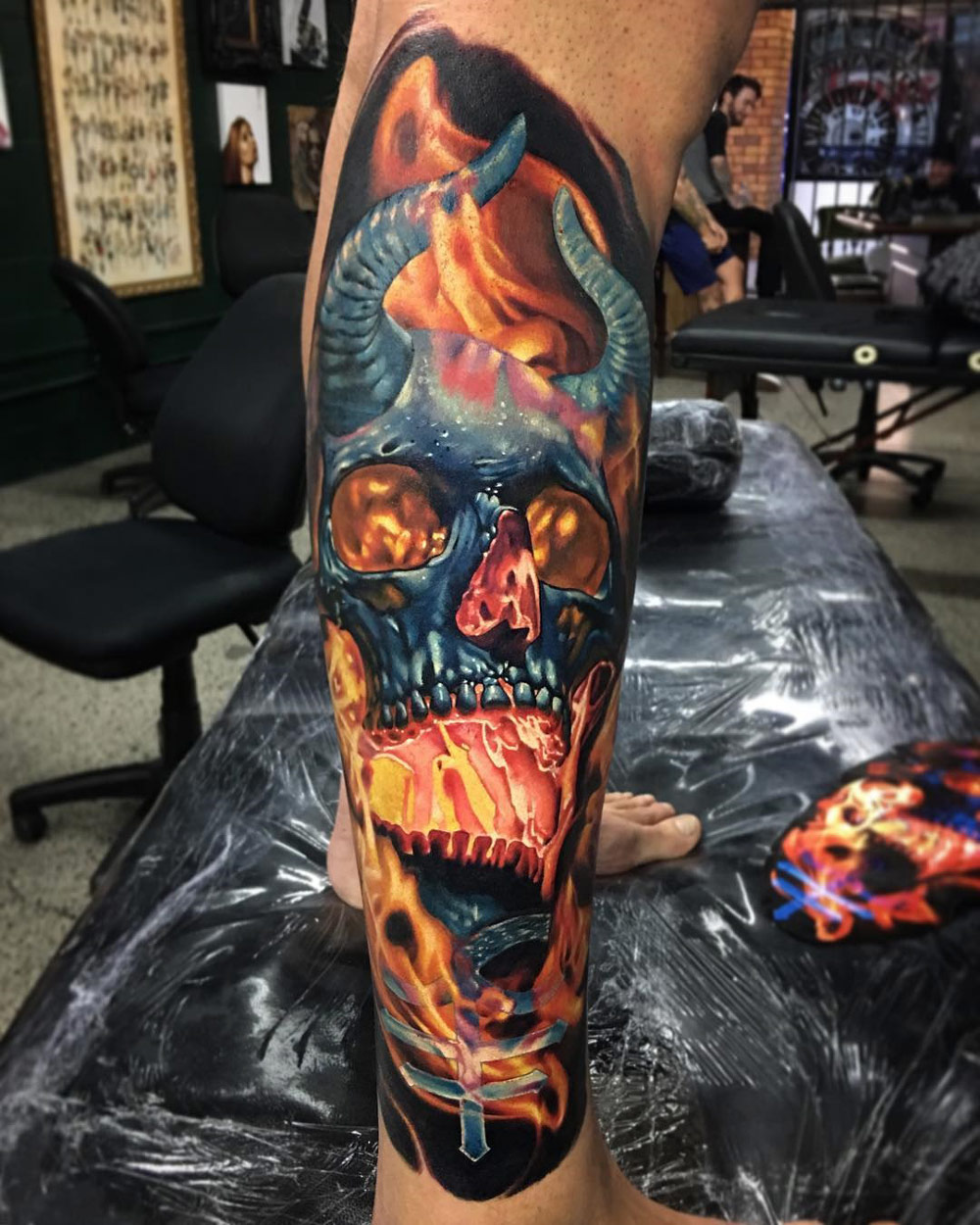 Demon Skull Tattoo, Flaming With Horns