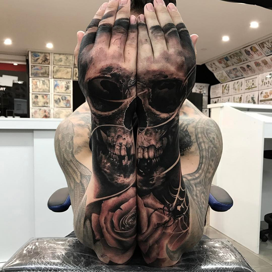 Double Hand & Arm Skull & Rose