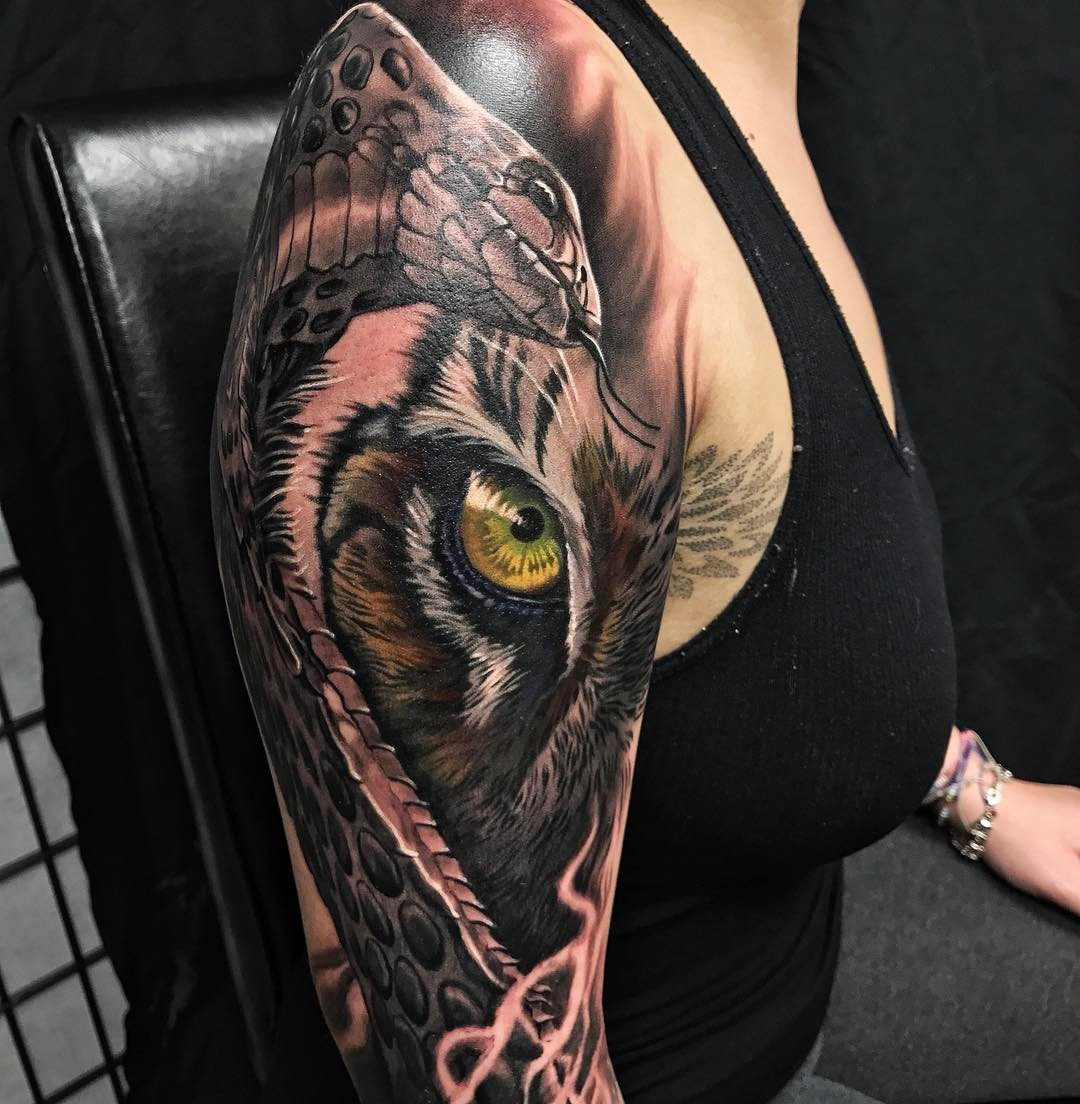 Snake Tiger Fusion Sleeve Best Tattoo Design Ideas